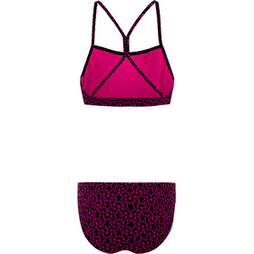 speedo Boomstar Allover Thinstrap 2-delige Bikini Dames, black/electric pink